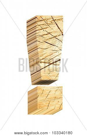 Exclamation mark from pine wood alphabet set isolated over white. Computer generated 3D photo rendering.
