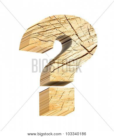Question mark from pine wood alphabet set isolated over white. Computer generated 3D photo rendering.