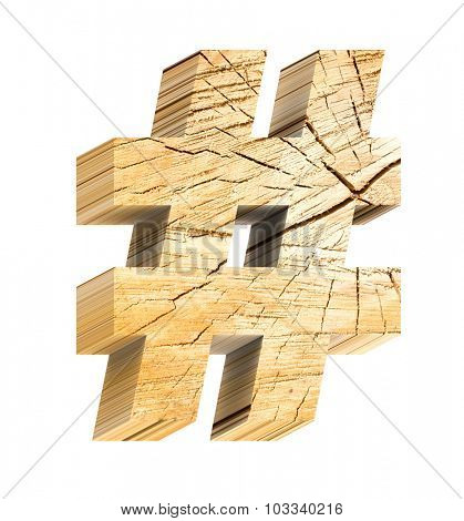 Number sign from pine wood alphabet set isolated over white. Computer generated 3D photo rendering.