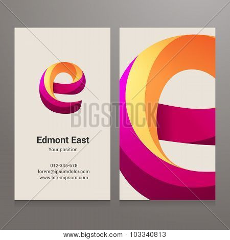 Modern Letter E Twisted Business Card Template
