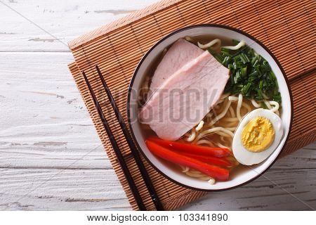 Asian Food: Ramen Noodles With Pork And Egg. Horizontal Top View