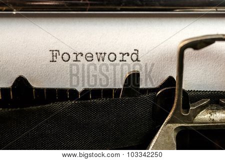 Foreword Text Written By Old Typewriter