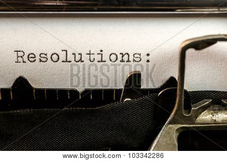 Resolutions Text Written By Old Typewriter