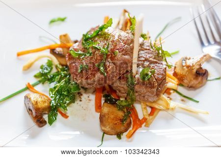 Fresh Argentine Beef Steak With Mushroom And Vegetables