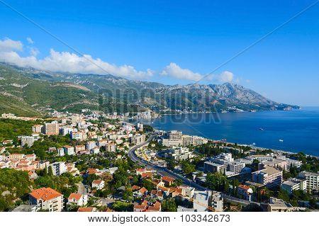 Top View Of Resort Town Of Becici On Adriatic Coast, Montenegro