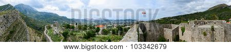 Panoramic View Of Walls Of Ancient Fortress In Old Bar And New Bar At Foot Of Mountains, Montenegro