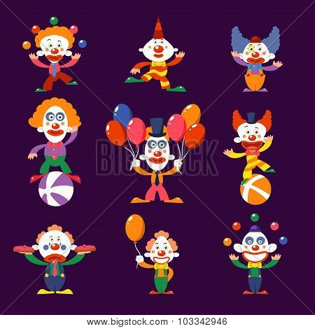 Colourful Clowns Vector Illustration Set