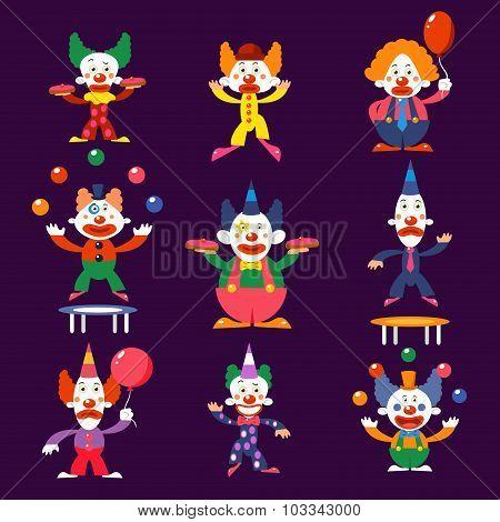 Cartoon Clowns Vector Illustration Set