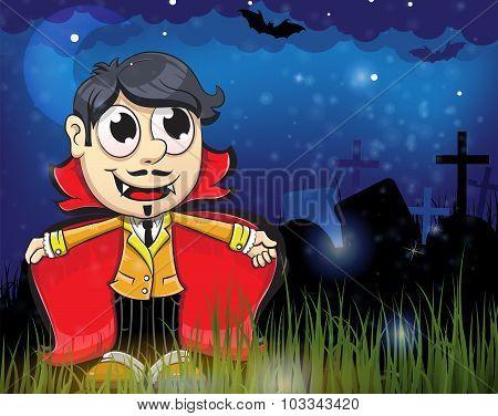 Halloween Vampire In The Night Cemetery