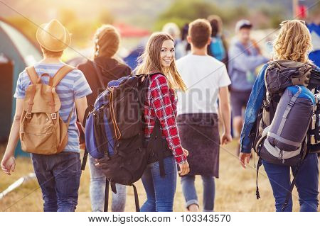 Beautiful teens at summer festival