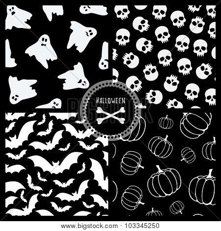 black and white halloween patterns