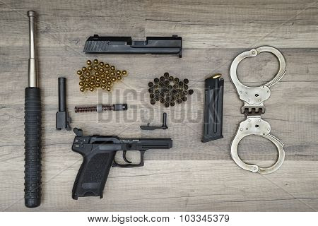 Gun Pistol With New And Used Bullets, Bat Police And Handcuffs