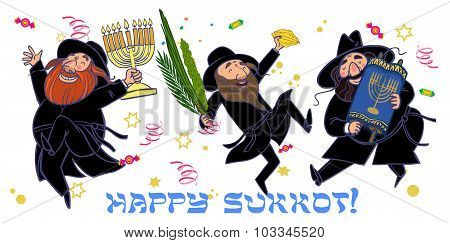 Funny Cartoon Jewish Men Dancing Wiht Ritual Plants For Sukkot.  Vector Illustration
