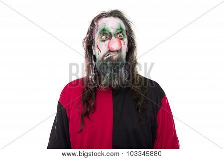 Evil Clown Costume, Isolated On White, Concept Halloween And Carnival