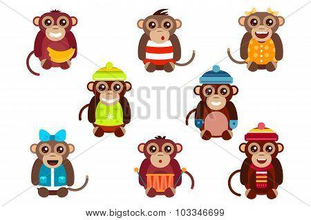 Happy cartoon vector monkey dancing party birthday background