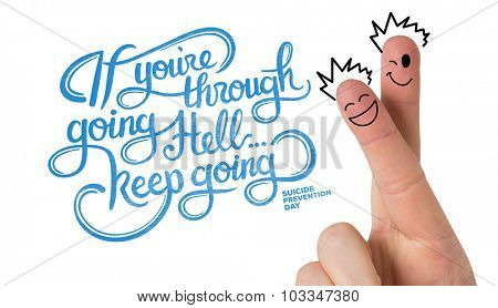 Finger characters against suicide prevention message