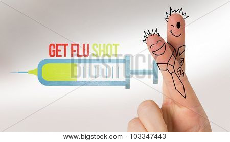 Fingers posed as students against flu shot message