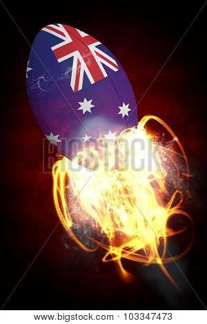 australia rugby ball against dark background