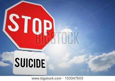 stop suicide against cloudy sky with sunshine