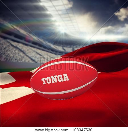 Tonga rugby ball against rugby stadium