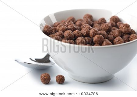 Bowl With Chocolate Balls Isolated