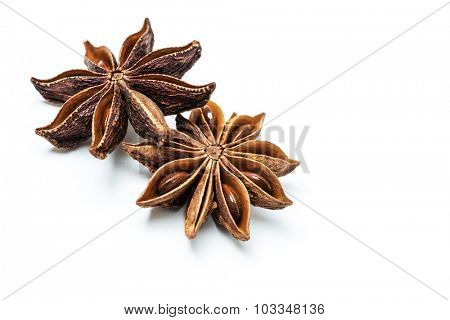 Star anise spice fruits and seeds on white background