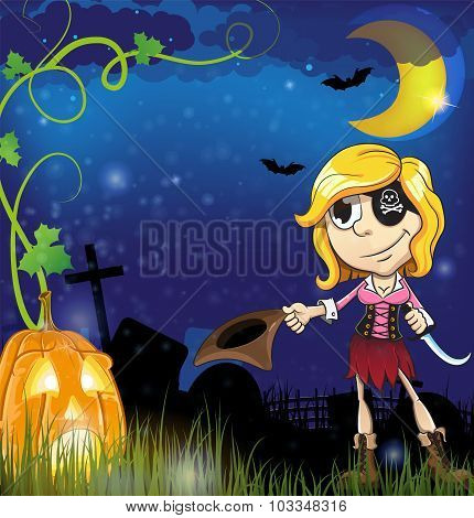 Pirate Girl With  Jack O Lantern