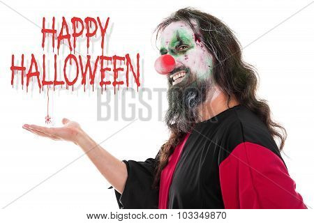 Ugly Und Creepy Clown Looking To The Beholder, Text Happy Halloween, Isolated On White