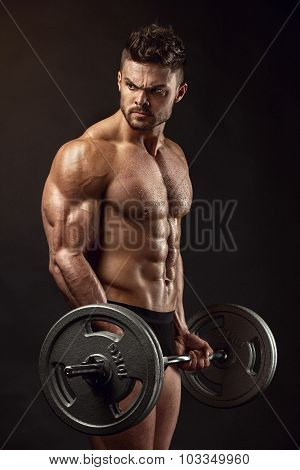 Muscular Bodybuilder Guy Doing Exercises With Big Dumbbell Dumbbell