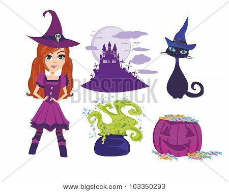 Set Of Accessories For The Little Witch