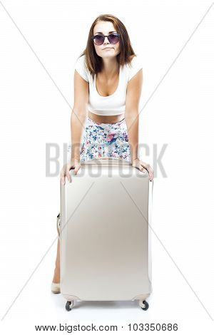 Disappointed Tourist Woman With Suitcase Isolated
