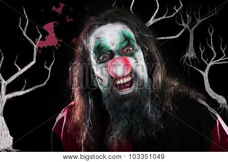 Mad Clown Laughing In Front Of Black Background With Trees And Bats, Concept Halloween