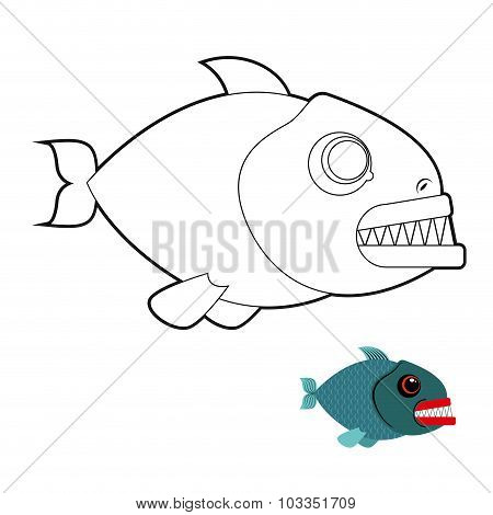 Piranha Coloring Book. Terrible Sea Fish With Large Teeth. Angry Sea Creature. Marine Predator On Wh