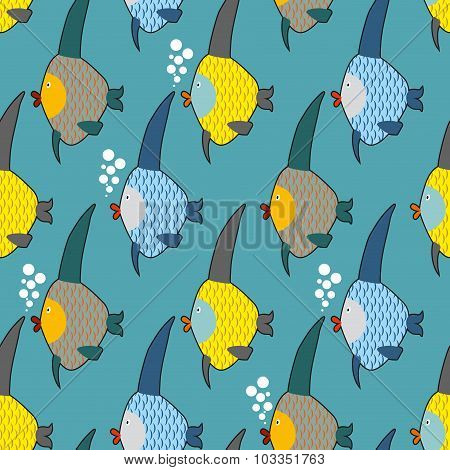 Marine Fish Color Seamless Pattern. Repeating Pattern Of Marine Life. Cute Funny Fish Texture For Ch
