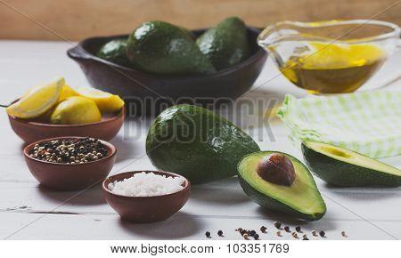 Avocado ingredients for guacamole. Selective focus