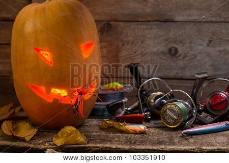 Halloween Pumpkin Head With Fishing Tackles