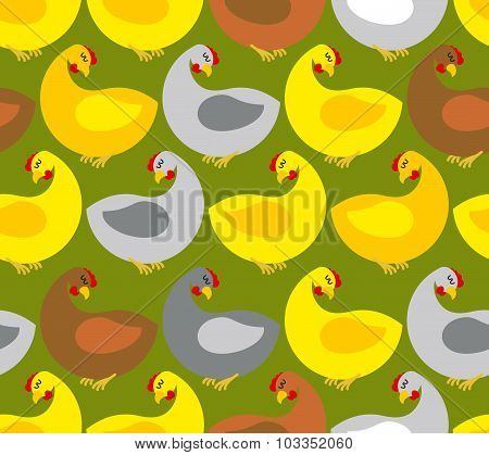 Chicken Seamless Pattern. Chicken Farm. Many Colored Birds. Vector Background. Repeating Ornament Fo
