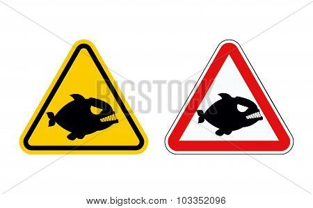 Dangerous Marine Predator. Attention Of  Piranha. Hazard Symbols. Set Of Labels For Beach Of Sea And
