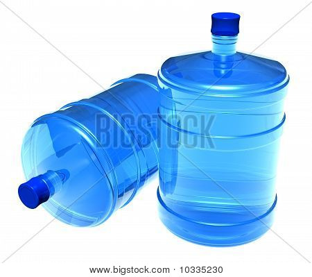 Set of big bottles of water