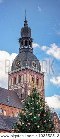 Riga Cathedral Of Saint Mary At Christmas