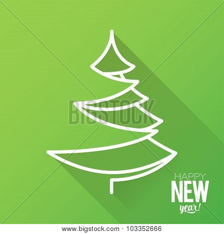 Illustration symbol of Christmas tree made of white lines on a green background.
