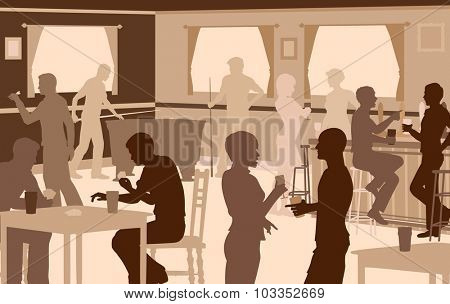 Cutout illustration of people drinking in a busy bar with typical pub games