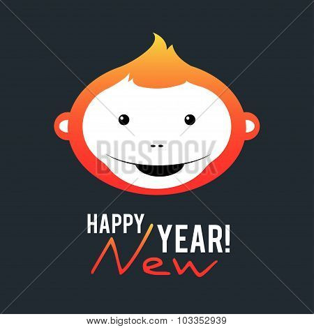 Illustration of a symbol of the new year 2016 - a fiery monkey on a dark background.