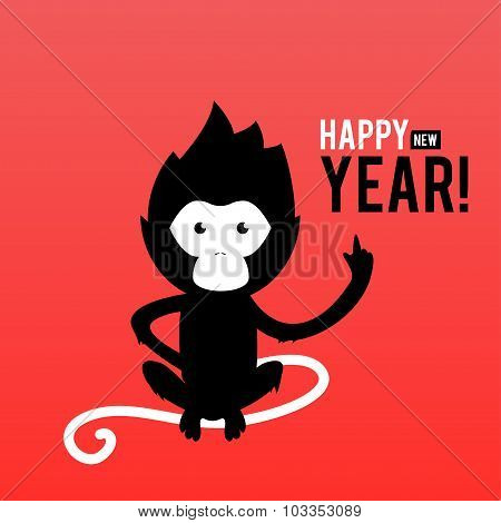 Illustration of a symbol of the new year 2016 - a fiery monkey on a red background.