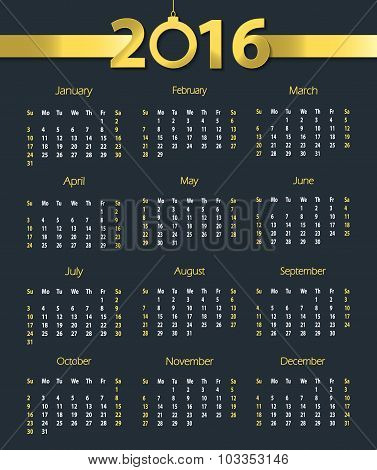 2016 calendar template with hanging bell on dark blue background. Week starts with Sunday