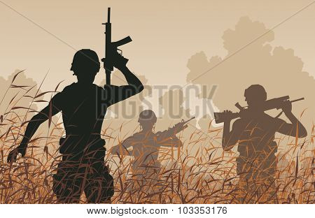 Illustration of soldiers on patrol in a reedswamp