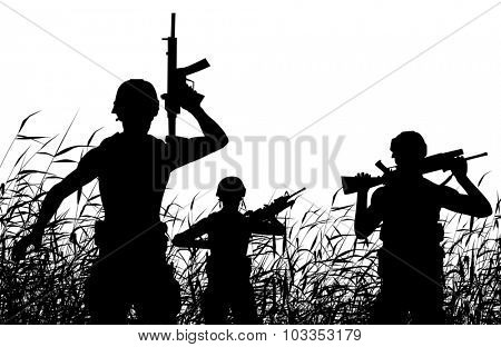 Illustrated silhouette of soldiers on patrol in a reedswamp