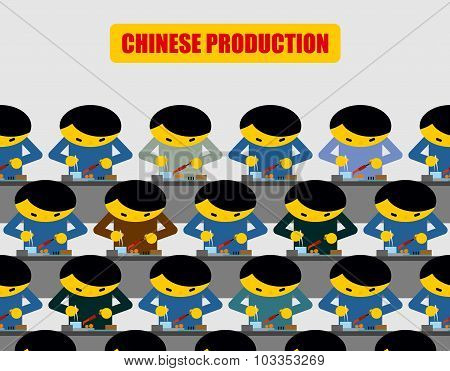 Chinese Production. Lot Of People At Work. Chinese Collected Workplace Equipment. Made In China.