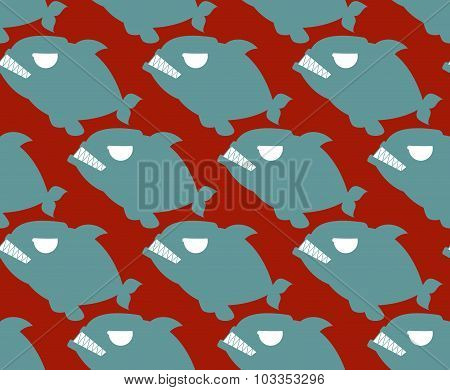 Fish Seamless Pattern. Naval Piranha Predatory Fish Vector Background.