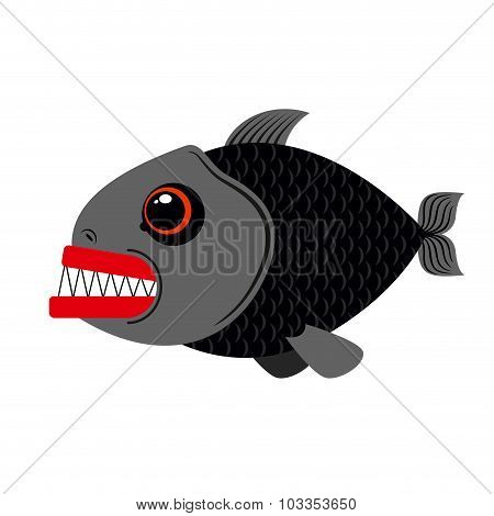 Piranha Marine Predator On White Background.terrible Sea Fish With Sharp Teeth. Scary Eyes And Sharp